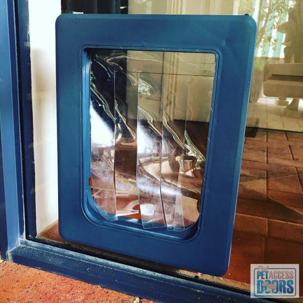Custom made dog door with glass